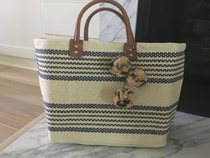 Bohemian straw stripe bag
