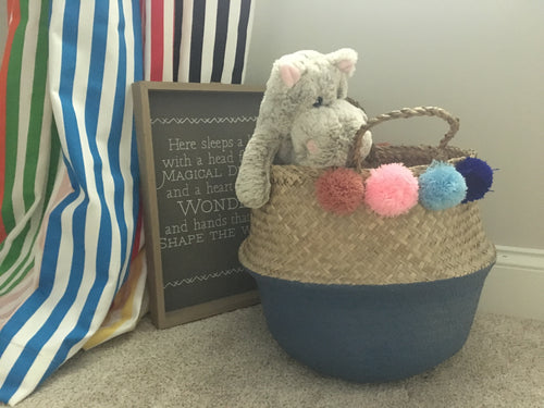 Handmade straw blue painted belly basket with pompoms