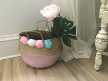 Load image into Gallery viewer, Handmade straw pink painted belly basket with 8 pompoms
