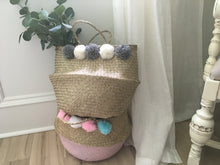 Load image into Gallery viewer, Handmade straw belly basket with pompoms
