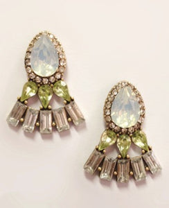 Crystal oval earring