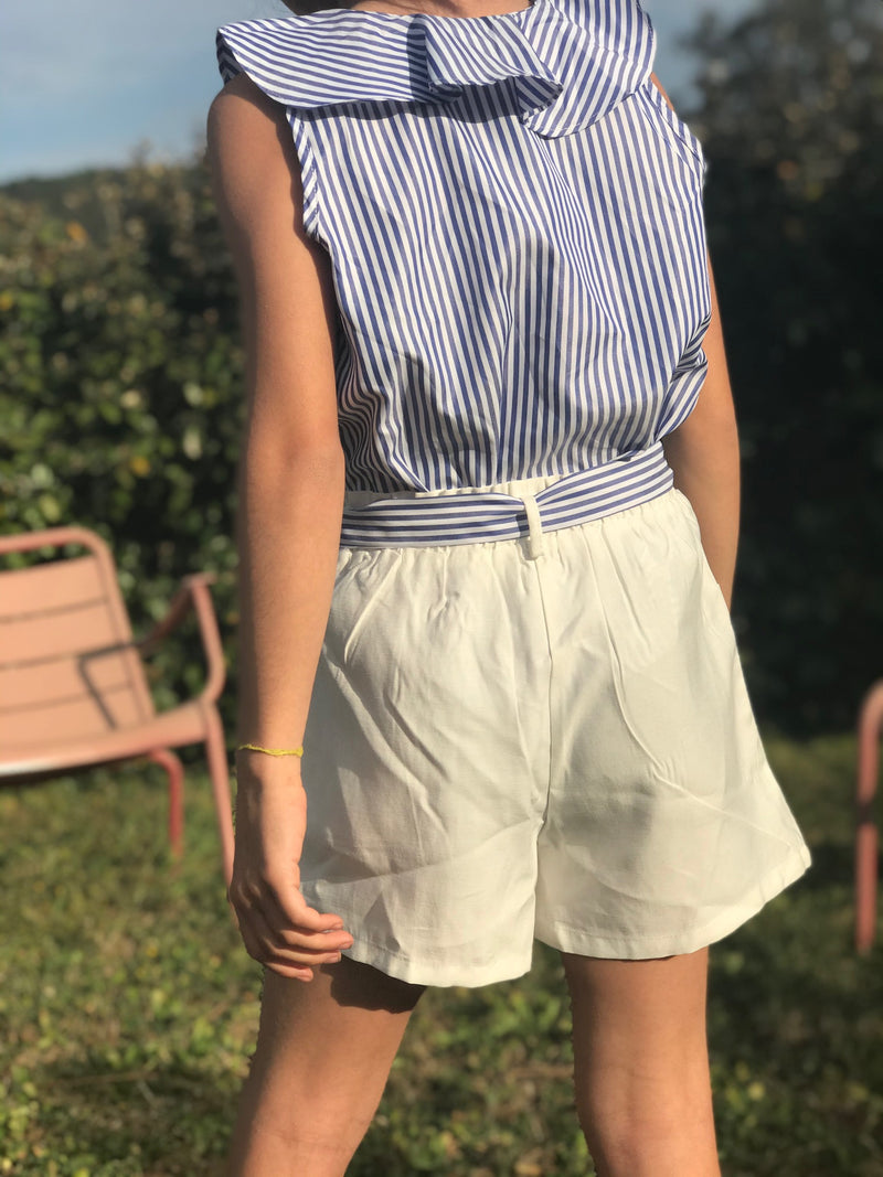 Ensemble top et short marine et blanc
