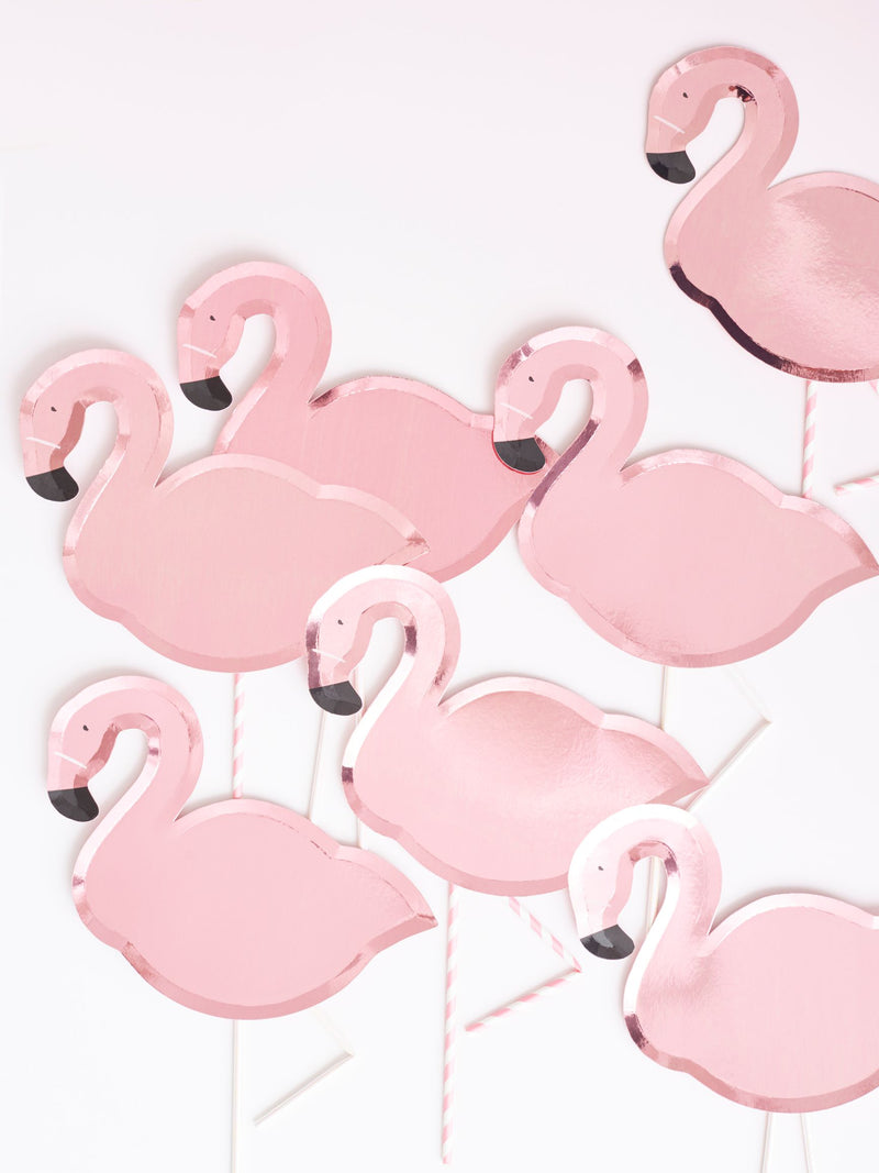 Assiettes flamant rose brillant