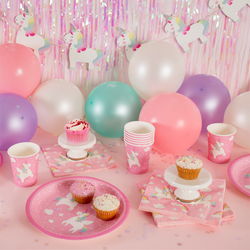 Assiettes licorne rose
