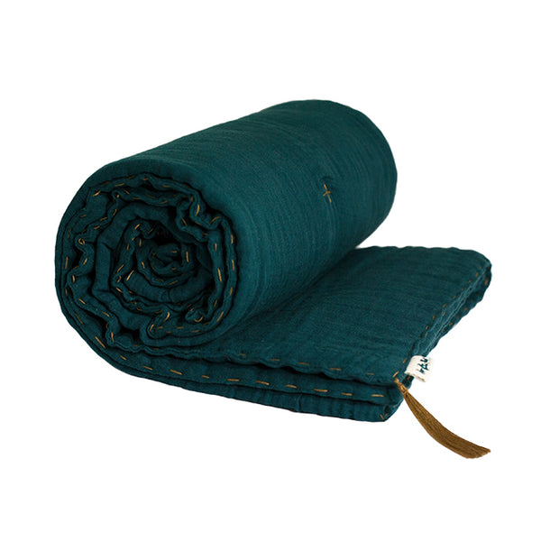 Couverture molletonnée teal blue en coton bio