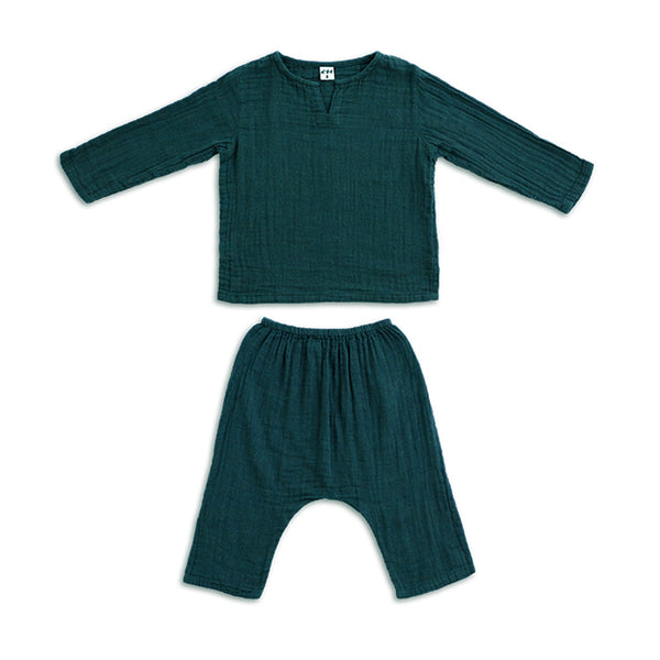 Ensemble Zac teal blue en coton bio