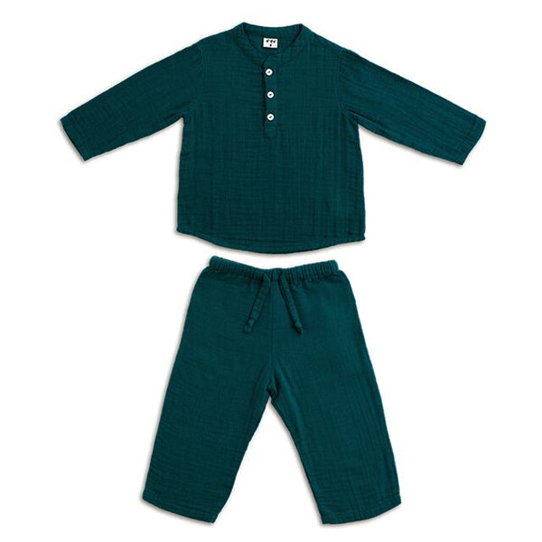 Ensemble Dan teal blue en coton bio