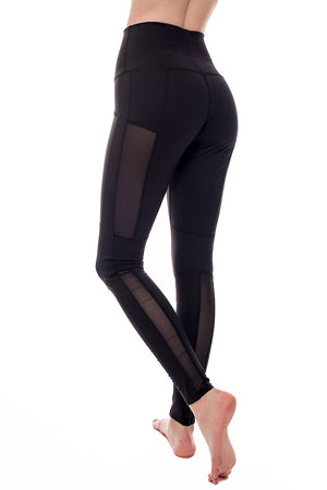Ethically made high rise workout leggings with mesh panels