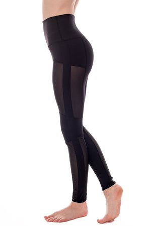 Mesh panelled high rise yoga leggings | ethically made