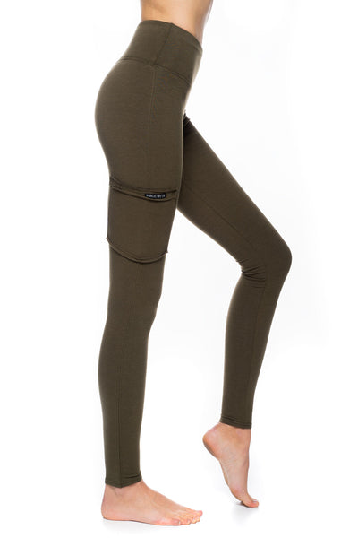 Army green highrise bamboo leggings with pocket