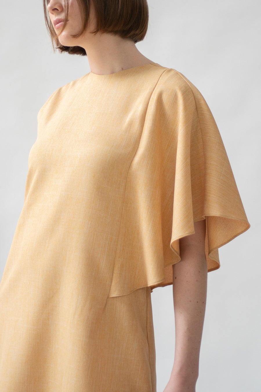 Mustard One Sided Ruffle Dress