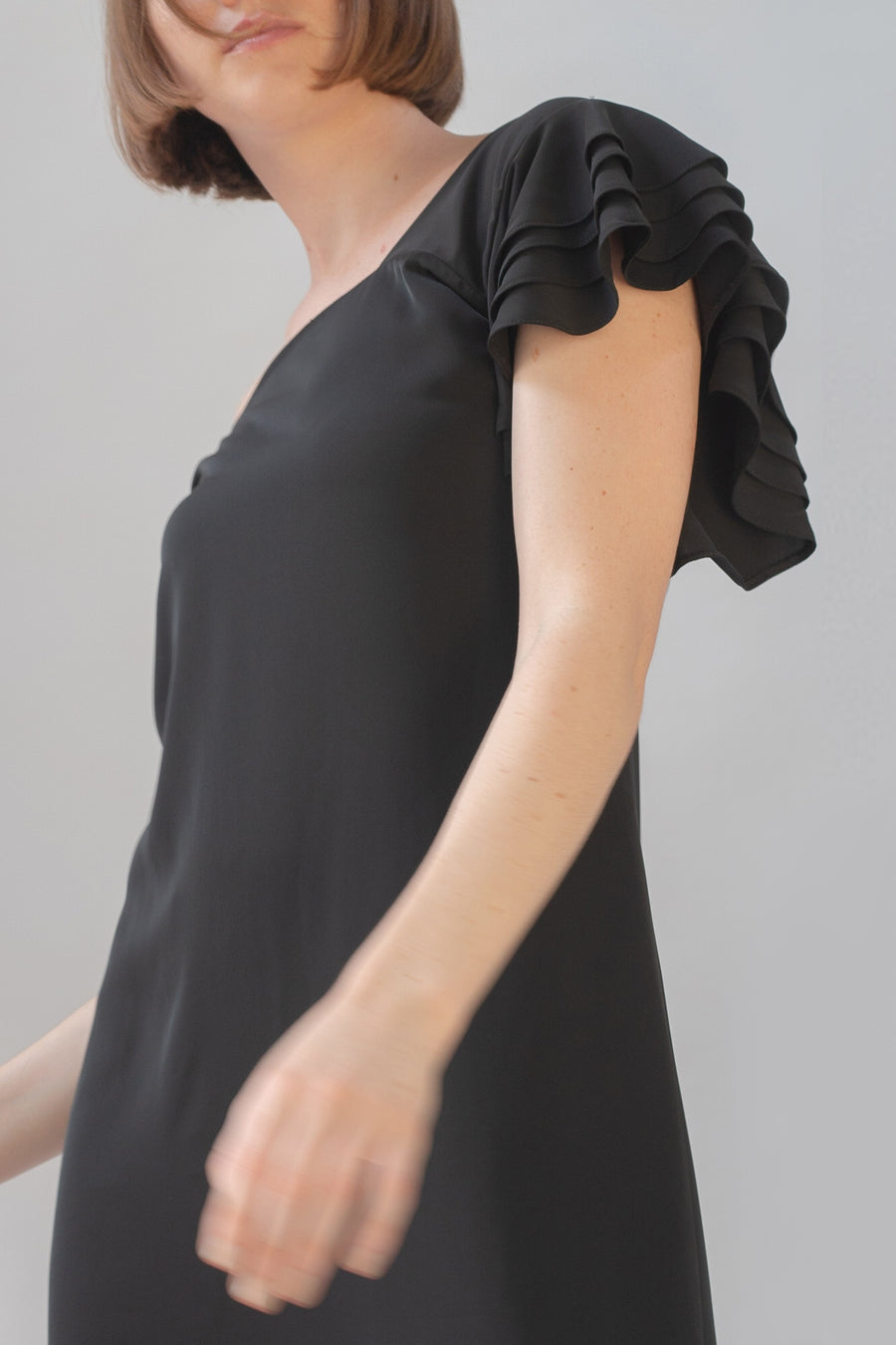 Frilled Dress - Black