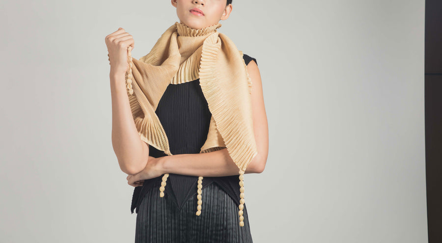 Pleated Scarf 002 - Beige