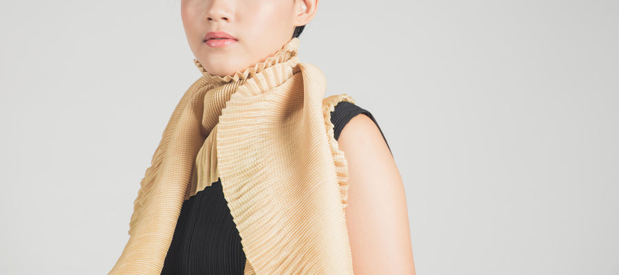 Pleated Scarf Beige