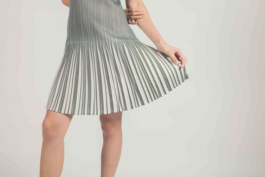 Pleated Dress 001 - Grey and White