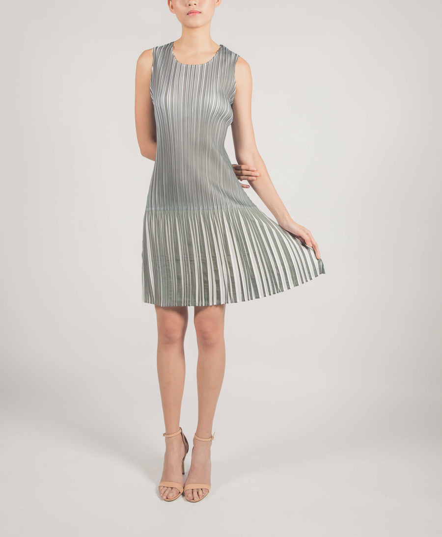 Pleated Dress Green and White