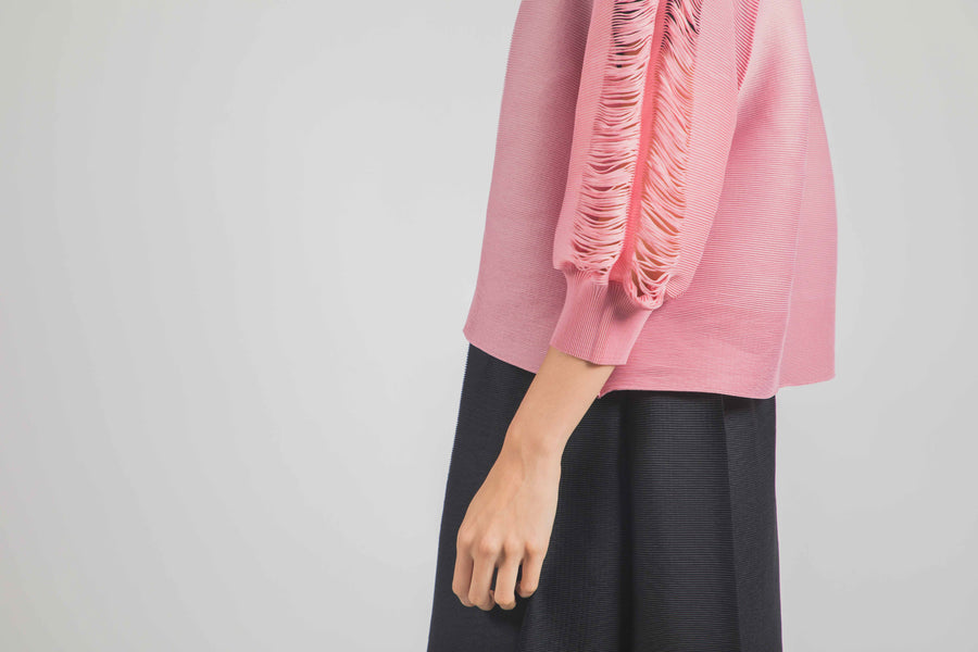 Pleated Cardigan 001 - Pink