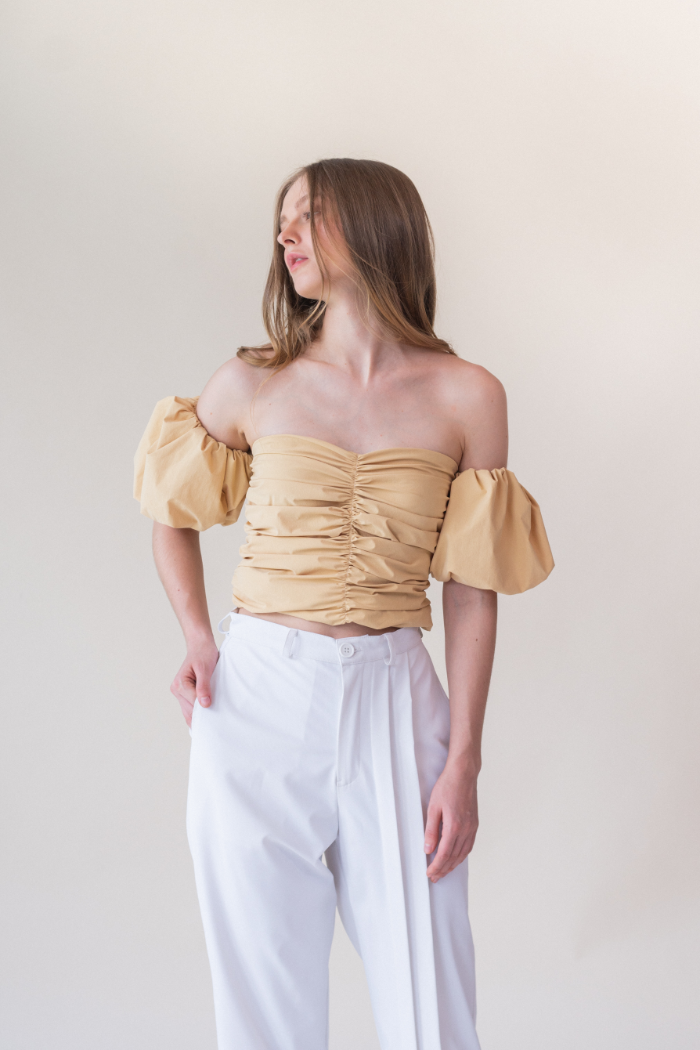 Ruched Cropped Top - Yellow