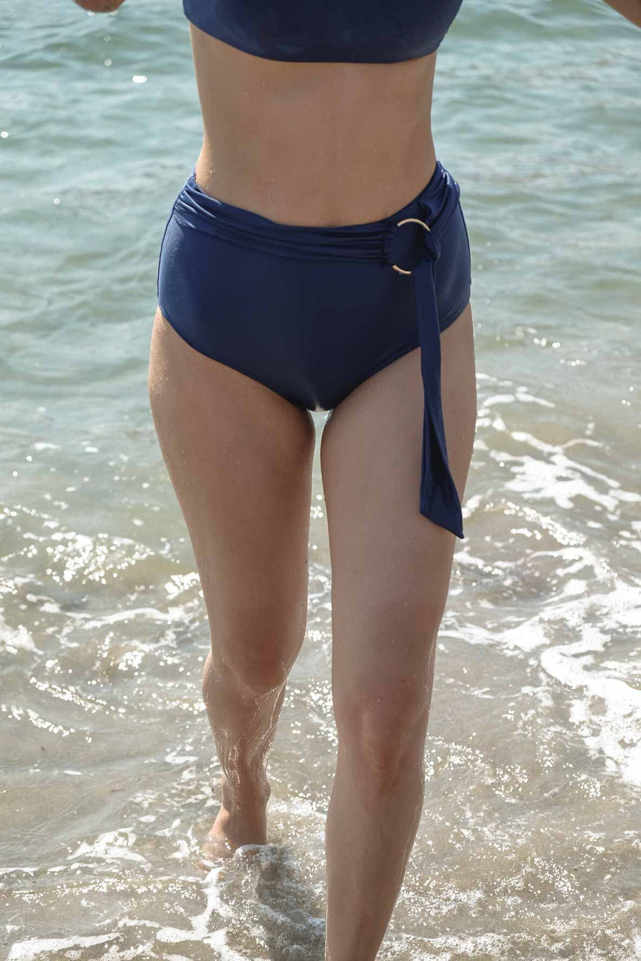 High Waist Bikini Bottom - Midnight Blue