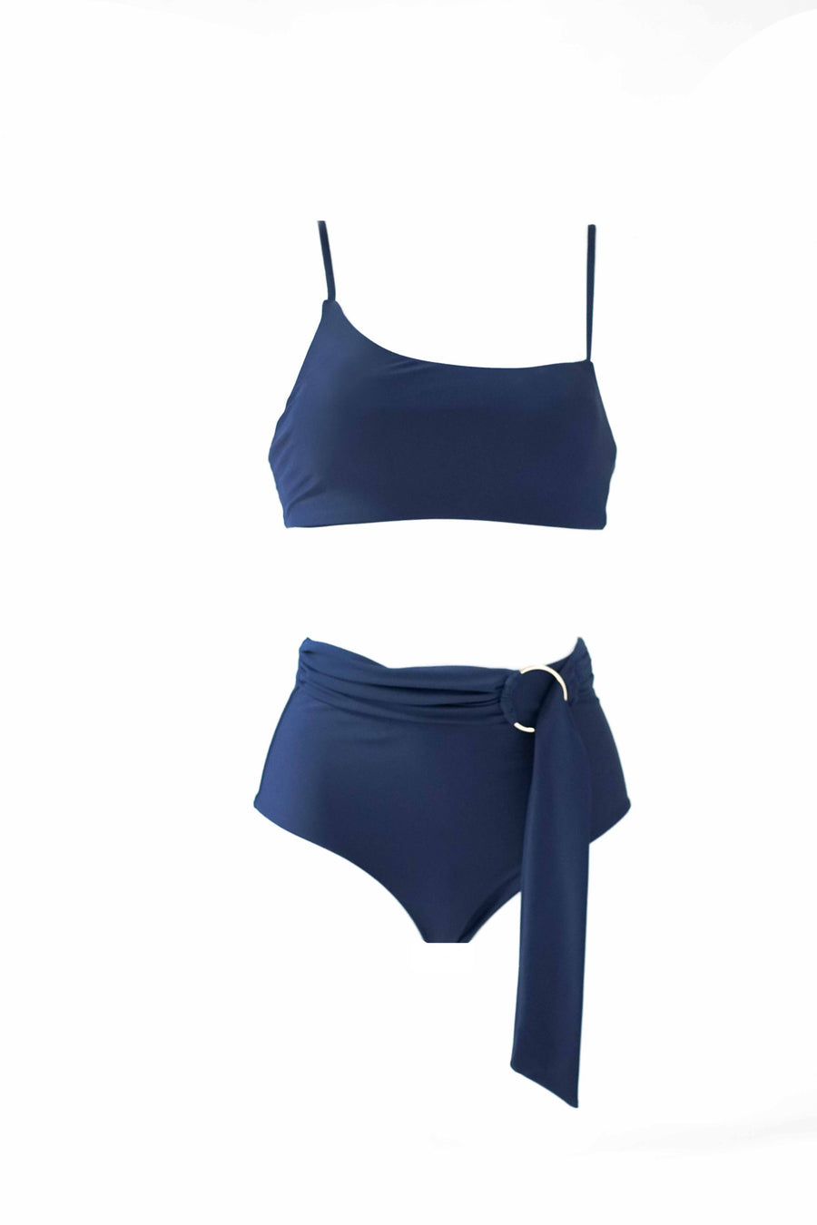 Asymmetrical Bandeau Top - Midnight Blue
