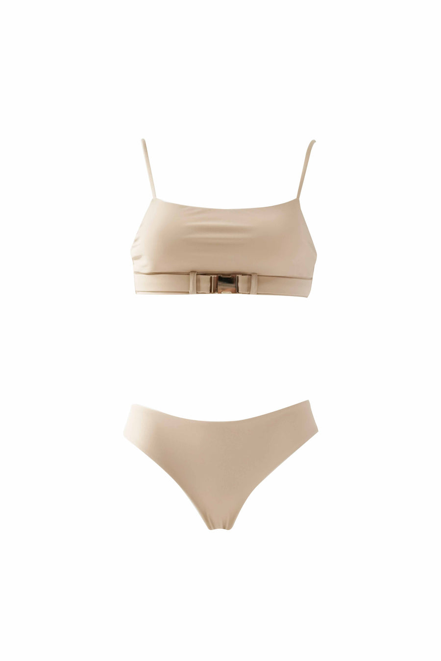 Belted Bandeau Top - Taupe