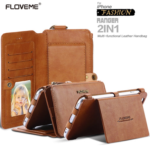 FLOVEME Business Leather Wallet Phone Bag Cases For iPhon