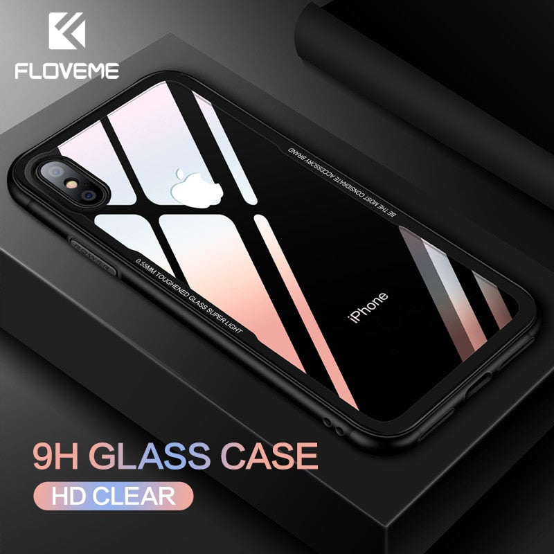 FLOVEME Tempered Glass Phone Case for iPhone