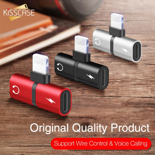KISSCASE 2 in 1 Audio Aux Adapter For iPhone