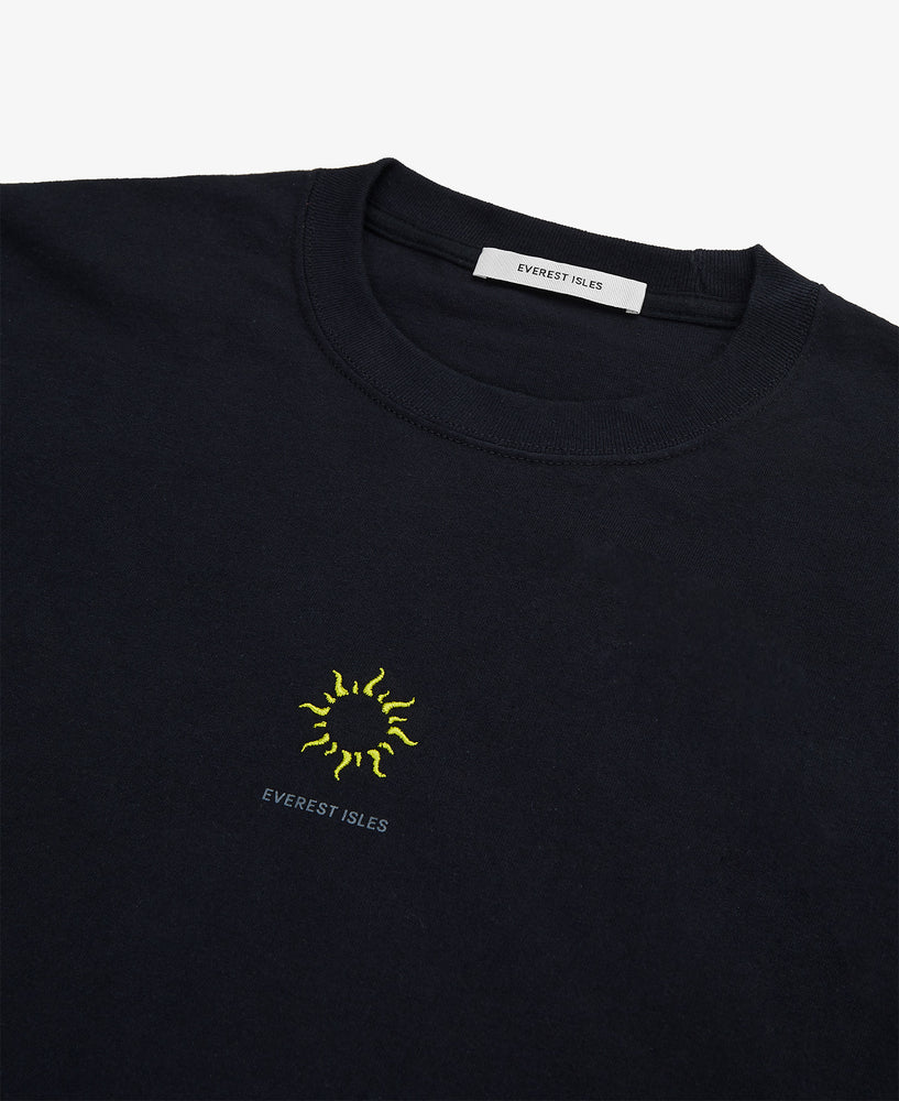 Embroidered Sun LS Tee Shirt – Black