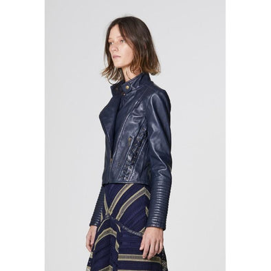 JANIS LACE UP LEATHER JACKET