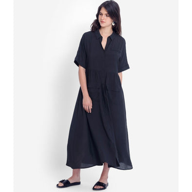 AISSA SHIRT DRESS | BLACK