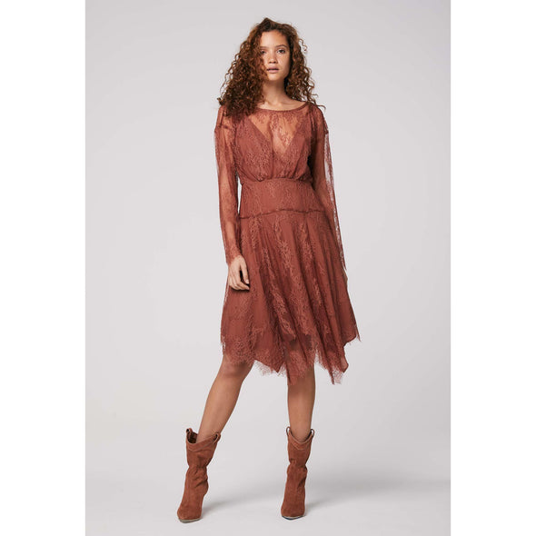 BAILEY DOLMAN SLEEVE LACE DRESS-COPPER