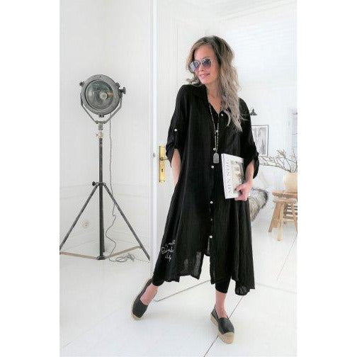 FOOL FOR LOVE BLACK LINEN TUNIC