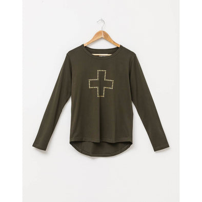 L/S TEE | FOREST WITH GOLD CROSS