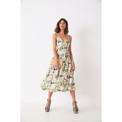PLEATED SINGLET DRESS - PAINTED PALMS