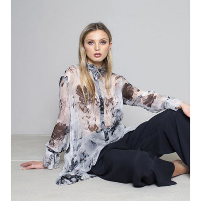 FRILL COLLAR SWING SHIRT SILK PRINT