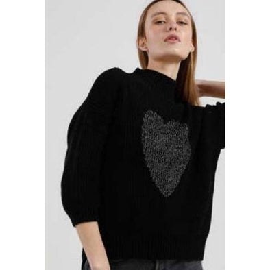 HEART SLOUCH KNIT| BLACK-SILVER HEART