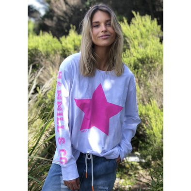 WHITE L/S TEE | PINK STAR