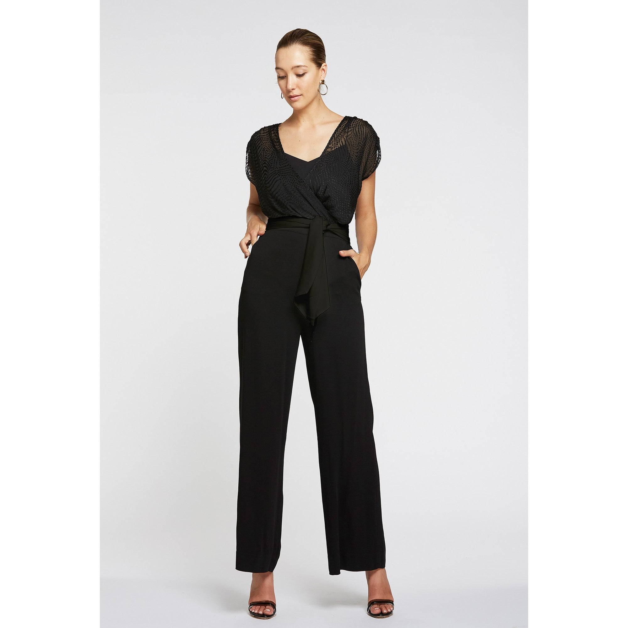 LEGEND CROSS FRONT JUMPSUIT - BLACK