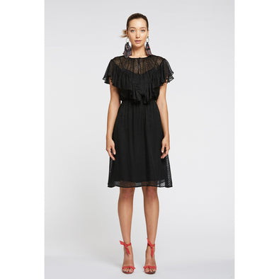 METAPHOR FLOUNCE SLEEVE DRESS - BLACK