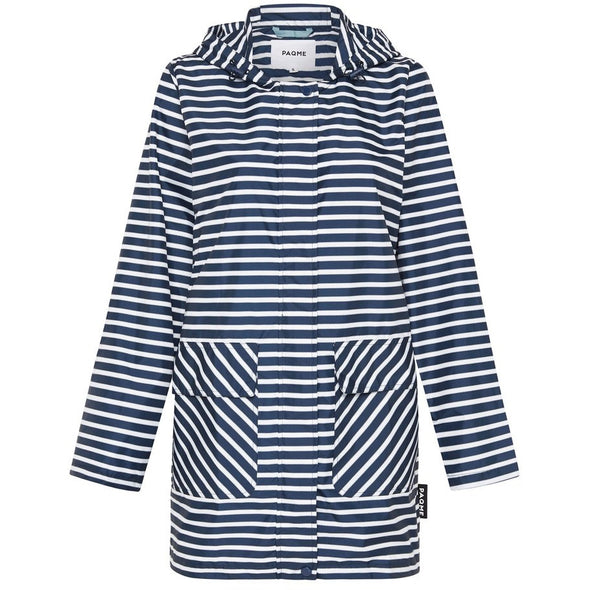 WOMEN'S RECYCLED 3/4 RAINCOAT | NAVY STRIPE