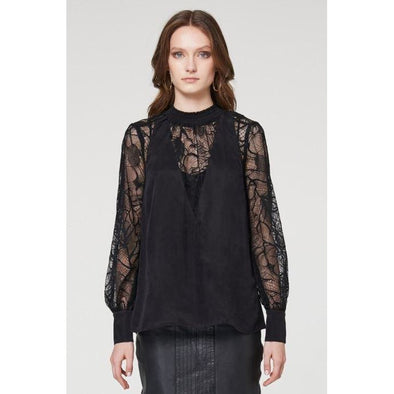 GOLDSMITH SHIRRED LACE BLACK BLOUSE