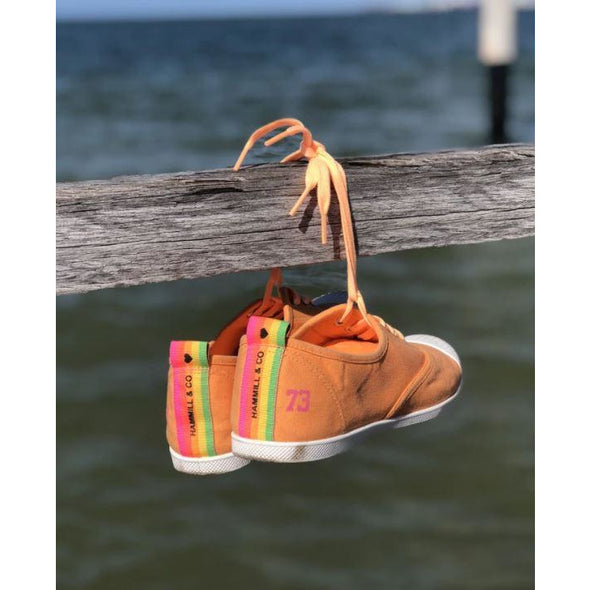 WASHED ORANGE CANVAS SNEAKERS