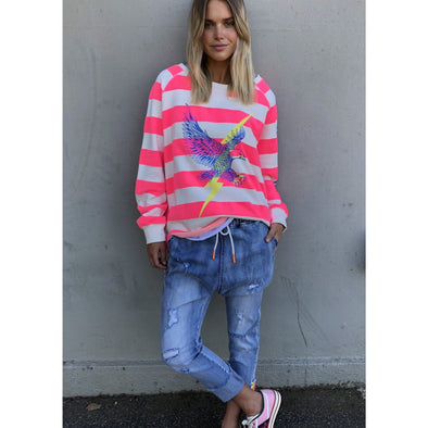 RAW HEM PINK STRIPE SWEAT