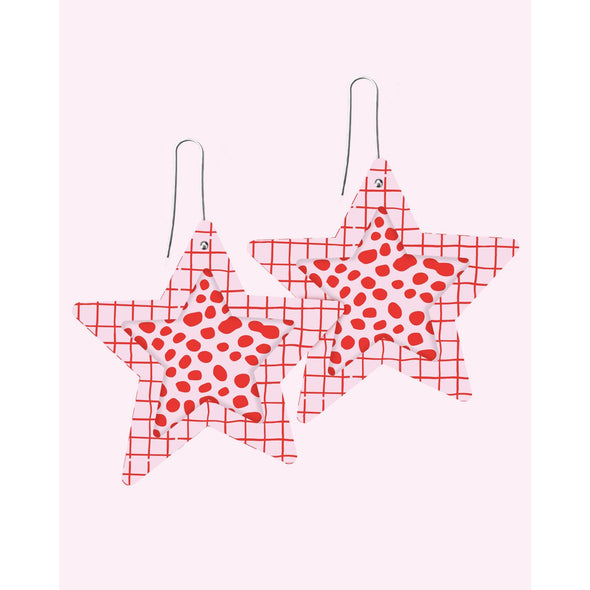 SPECKLES LAYERED MEGA STAR DROP EARRING