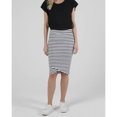 SIRI SKIRT | WHITE/BLACK STRIPE