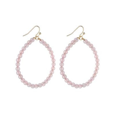 SHANNY MED HOOP NATURAL STONE EARRINGS | ROSE QUARTZ