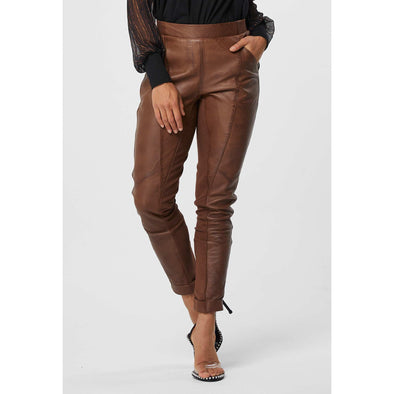 LIBRERIA RELAXED LEATHER ELASTIC WAIST PANTS | TAN