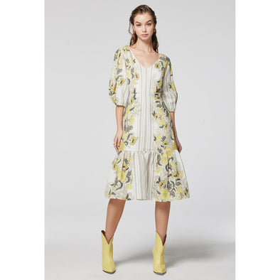 DALIA LINEN/VISCOSE MIDI DRESS | LEMONCELLO BATIK