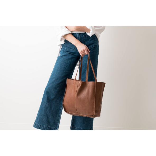 BABY UNLINED TOTE | COGNAC